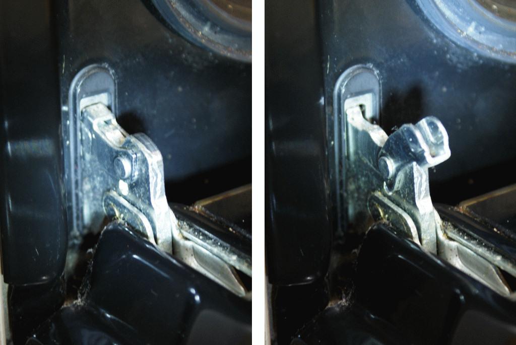 Oven door hinge detail