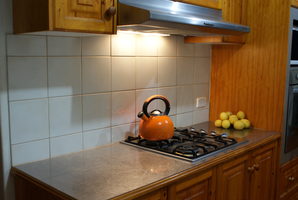 stainless steel bench and gas cooktop